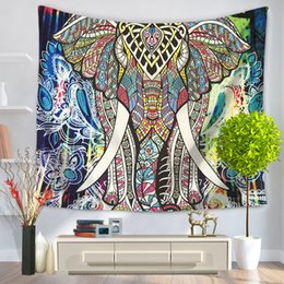 Wholesale Decorative Wall Hangings Fabric - Mandala Bohemian Style Colorful Thailand Elephant Tapestry Decorative Polyester Fabric Carpet Wall Hanging