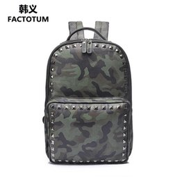 Wholesale Trend Big Bags - wholesale brand bao trend camouflage travel backpacks personality fashion rivet punk double shoulder bag leisure big capacity student bag