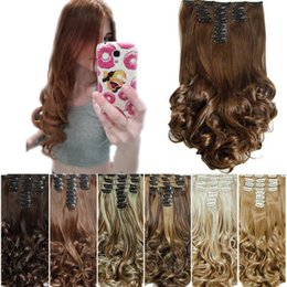 Wholesale Heat Resistant Synthetic Hair Extension - 16Colors Clip in Hair Extensions 8pcs set 20inch Long Hairpiece Curly Wavy Heat Resistant Synthetic Natural Hair Extension