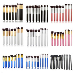 Wholesale Pink Kabuki - Makeup brushes sets 10 Pcs Kabuki Superior Professional Soft Cosmetics Make Up Brush Set Woman's Brush kit Makeup Brushes OPP bag