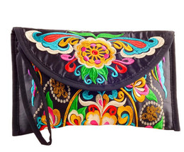 Wholesale Small Cloth Purses - Wholesale- new national ethnic embroidery embroidered Coin purse women's handmade small cloth wallet phone bag