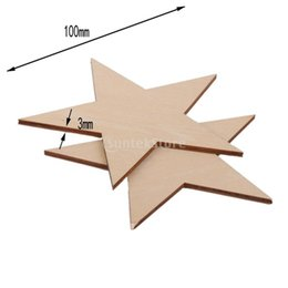 Wholesale Wholesale Wooden Shapes For Crafting - Wholesale- SUNTEK 3mm Thick Star Shape Wooden Embellishments for DIY Crafts 10pcs 100mm Free Shipping