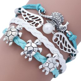 Wholesale Wings Bangles - Antique Silver Cute Turtle Sea Horse Wings Beaded Charm Bracelet Bangle For Women Resizable Fashion Bracelets