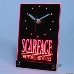 relógios de mesa de cerâmica Desconto Relógio LED Scarface O Mundo é O Seu Bar Mesa De Cerveja Mesa 3D Relógio LED Multi Cores Decoração de Mesa