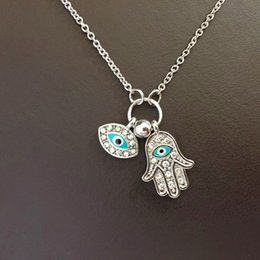 Wholesale Hamsa Necklace Wholesale - Wholesale-Gold Silver Hamsa Blue Eyes Necklace Turkish Style May Goddess Pray For Health Unique Women Pendant Necklaces 2016 New