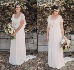Wholesale Open Back Chiffon Wedding Dresses - 2017 Ivory Bohemian Wedding Dresses Plus Size Maternity Lace Short Sleeves Cheap Scoop Open Back Country Spring Wedding Bridal Wedding Gowns