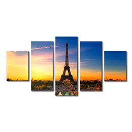 Wholesale Eiffel Tower Wall Decor - 5 pcs The Eiffel Tower Landscape Painting Paris Canvas Wall Decor Picture Home Decor Living Room Giclee Prints Modern Art Painting