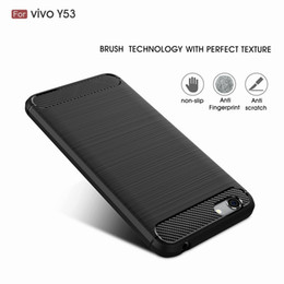 Wholesale Bbk Vivo - Luxury Slim Armor Case for BBK Vivo Y53 Y 53 Carbon Fiber Brush Silicone Soft Back Cover Shell Fundas Coque Capa