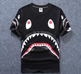 Wholesale Foreign Short Sleeve - 2017 new foreign trade fast selling men's tide card shark mouth print men's and women's t-shirt t-shirt