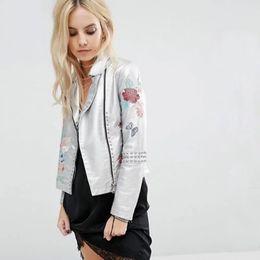 Wholesale leather jacket women slim rivet - Hot sale women autumn leather jacket rivet embroidery floral long sleeve coat metal silver PU jackets jaqueta couro feminina