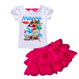 Wholesale Dream Kids Clothes - 2017 Summer Cartoon Clothing Kids Print Dream Tropical Moana Dresses Infant Baby Girls Clothing Costume Children Party Kids Princess Dress