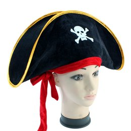 Wholesale red ballroom - Halloween Ballroom Caribbean Pirate Captain Cap Pirate Hat Flat with Red Band 61g Skull Halloween Hats