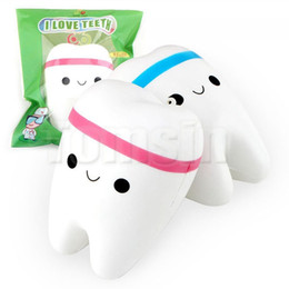 Wholesale Tooth Children - DHL Squishy Toy miniature food tooth squishies Slow Rising 10cm Soft Squeeze Cute Cell Phone Strap gift Stress children toys for Christmas
