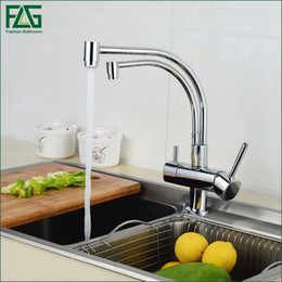 Wholesale Kitchen Faucets Ways - Wholesale- FLG 100% Copper Chrome Polished Swivel Drinking Water Faucet 3 Way Water Filter Purifier Kitchen Faucets For Sinks Taps 256-33C