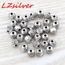 Mic rondas de prata on-line-MIC 300 pcs Antique Silver liga de zinco flor redonda Spacer Beads 6x5.5mm DIY jóias D24