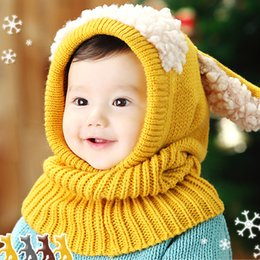 Wholesale Dog Baby Winter Cap - 5 kinds of colors Winter new han edition children lovely dog baby warm shawl wool scarf hat Knitted cap