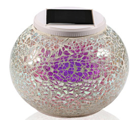 Wholesale Mosaic Glass Lamps - New Solar Powered Mosaic Glass Ball Garden Lights Color Changing Yard Balcony Lamps Waterproof Indoor Outdoor