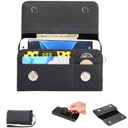 Wholesale Universal Cell Phone Belt Clip - Universal Vertical Leather Wallet Credit Card Case Belt Clip Tradesman Workman Pouch Case Cover for 4.0-6.3 inch cell phone