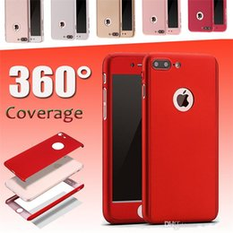 Wholesale Matte White Screen - For iphone 7 hard case 360 Degree Coverage Tempered Glass Screen protector iphone 7 matte Case Cover Plastic PC Full Body Cases For iPhone6