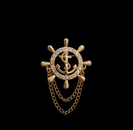 Wholesale Gold Lapel Pins - Wholesale- Brand Elegant Gold Unisex Anchor Cruises Brooches For Women Men Fine Jewelry Accessories Crystal Man Lapel Pin Bijoux