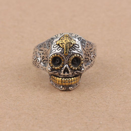 Wholesale Skull Rings 925 Silver - Fashion Jewelry Rings BALMORA 1 Piece 100% Real Pure 925 Sterling Silver Jewelry Vintage Skull Open Silver Rings for Women Men Party