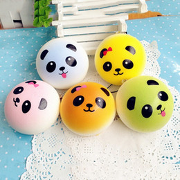 Wholesale Squishy Breads - 2017 New Squishy Straps Cell Phone Charms Soft Key Chain Bread Buns Fashion Panda Phone Straps Stress relief Toys for Relax