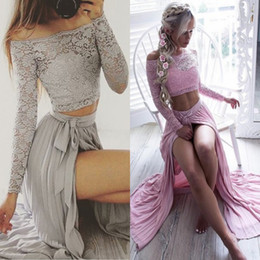 Wholesale Sexy Lace White Cheap Top - 2017 Sexy Silver Two-Pieces Lace Top Prom Dresses Off The Shoulder A Line Chiffon Illusion Long Sleeve Split Side Cheap Party Gowns BA4873