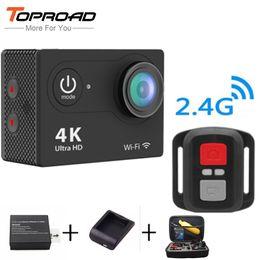 2019 câmeras de espionagem de mini-noite sem fio Atacado-Ultra Full HD Upgrated 4K H9R WIFI Câmeras de Ação 1080P 2.0 LCD 170 Lens com 2.4G Controle Remoto Mini Sports Video Camcorders