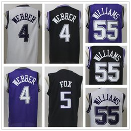 Wholesale Super 55 - men's super star jersey 4 Chris Webber 55 Jason Williams 100% Stitched Color White black Purple sports Jerseys free shipping size S-XXL