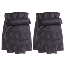 Wholesale Tactical Gloves Leather Half Finger - Wholesale- Outdoor Sports Half Finger Tactical Gloves for Men Fingerless Army Antiskid Climbing Bicycle Motorcycle Gloves E#A3