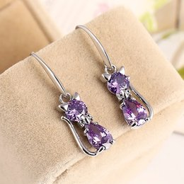 Wholesale Cat Clip Earrings - Chic Crystal Cat Earrings Fashion Ear Jewelry Cat Lovers Gifts