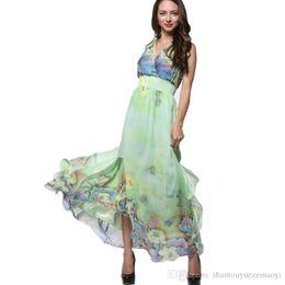 Wholesale Plus Size Womens Elegant Clothing - Womens Evening Dress Summer Elegant Beach Chiffon Clothing Ladies Party Clothes Bohemian Print Maxi Long Dress Plus Size 7XL 8XL Vestidos