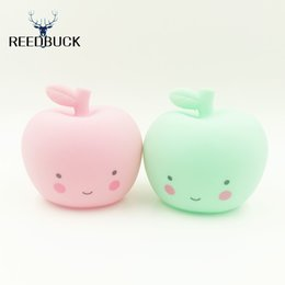 Wholesale night smile - Wholesale- 2017 New Arrivals Big Apple Nightlight Cute Smile Face Apple Table Lamp Holiday Gift Led Night Light Lampara Energy Save Lamps