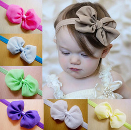 Wholesale Order Head Bands - Good A++ Hot head with chiffon bow hair with children hair band TG113 mix order 30 pieces a lot