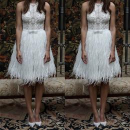 celebridad mini vestidos de plumas Rebajas Apliques de encaje Blanco Celebrity Vestidos de cóctel Vestido de fiesta corto con plumas Una línea de vestidos de noche con Faja