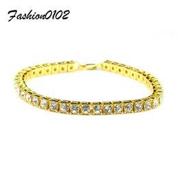 Wholesale Bracelet Bling Men - Men Hip hop Bracelet Silver Gold Plated Iced Out 1 Row Rhinestones Bracelet Chain Bling Clear Crystal Bracelet Women 20cm