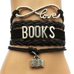 Wholesale Gold Book Charm - Wholesale-Drop Shipping Infinity Love Books Bracelet- Custom Hobbies Carrier Job Frienship Gift