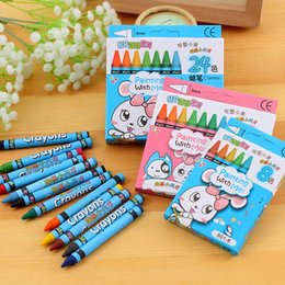 Wholesale Paints For Kids - 24 colours Lovely Animal Print Colorful Non-Toxic Crayon Oil Painting Stick for Kids Students DIY School Supplies Oil Pastel drawing pen