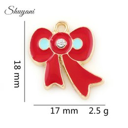 Wholesale Butterfly Bow Bracelets - Cute Butterfly Bow Bowknot Charms For DIY Necklace&Bracelet Jewelry Making 18*17mm Red Silver Gold Plated