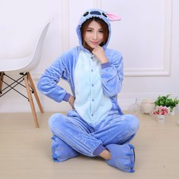 Wholesale Cartoon Pajamas Pink - Unicorn Stitch Flannel Hoodie Pajamas Costume Cosplay Cartoon Animals Sleepwear for Adults Children