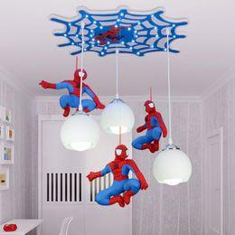 Wholesale Spider Light Bulbs - New children's house spider-man light LED bulb with bedroom boys lighting LED creativity Pendant Lamps 110-240V