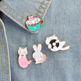 Wholesale Badge Cat - Cat pin Rabbit pin Tea cup cat mermaid cat pink rabbit lapel pin badge Cute animal pins Gift for her Gift for friends