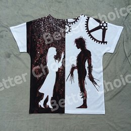 Wholesale Rock Tracks - Wholesale- Track Ship + New Vintage Retro Rock&Roll Punk T-shirt Top Tee Pure Love Lover Robot Edward Scissorhands Romantic 0031