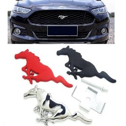 Wholesale ford styling accessories - Running Horse Sticker Chrome Metal Emblem Badge For Ford Focus 2 3 Mustang Accessories stickers on cars Car-Styling
