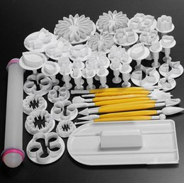 Wholesale Cake Mold Fondant Decorating - New 46Pcs set Fondant Cake Decorating Sugarcraft Plunger Cutter Tools Mold Cookies full set mold 03032