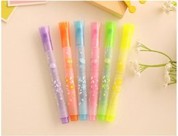 Wholesale Wholesale Copic Markers - Novelty star nib highlighter pen copic marker pens kawaii stationery material escolar papelaria school supplies 6 colors