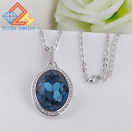 Wholesale Swarovski Blue Pendant - Trendy Women Pendant Necklace Made with Oval Shape Bermuda Blue SWAROVSKI Crystals Best Gift for Woman and Girls