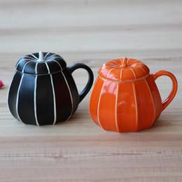 2019 copos de café natal atacado 6 pçs / lote abóbora canecas com tampa criativa cor chá dia das bruxas Dia de Ação de Graças abóbora copo Presente para a família Jantar sem Colher