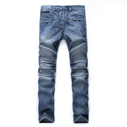 Wholesale Men Skinny Leg Jeans - Upreface Motocross Distressed Destroyed Pleated Slim Straight fit Ripped Biker Tapered Leg Jeans Skinny Stretched Pants
