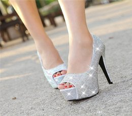 Wholesale Womens Beaded Shoes - New wedding shoes Fish mouth heel womens crystal high heels waterproof platform thin heel bridal shoes shallow shoes